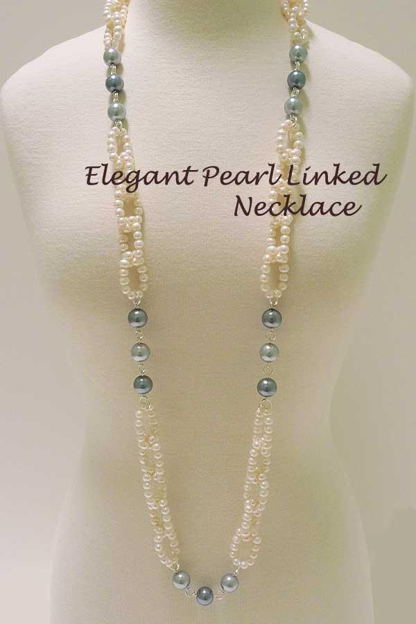 Elegant Pearl Linked Necklace