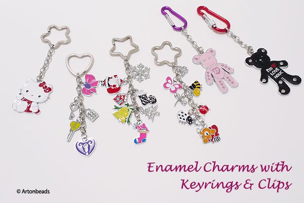 Enamel Charms with Keyrings and Clips