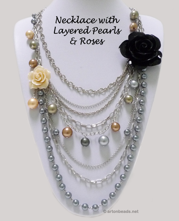 Necklace with layered pearls and roses