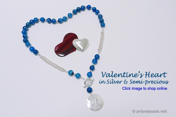 Valentine's Heart in Silver and Semi-Precious