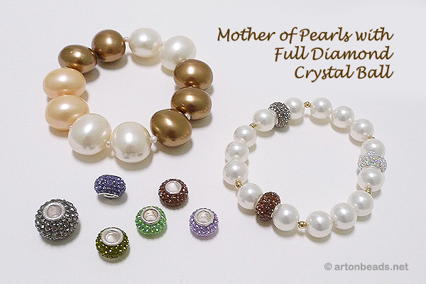Mother of Pearls and Crystal Pando Beads