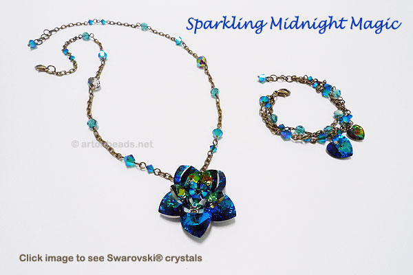 Sapphire Crystal Necklace and Bracelet
