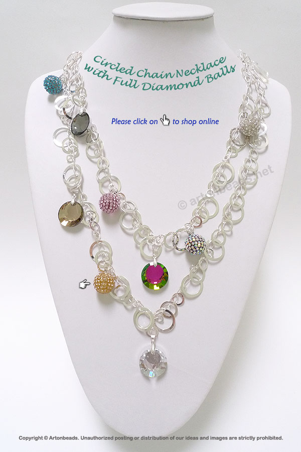 Circled Chain Necklace with Full Diamond Balls
