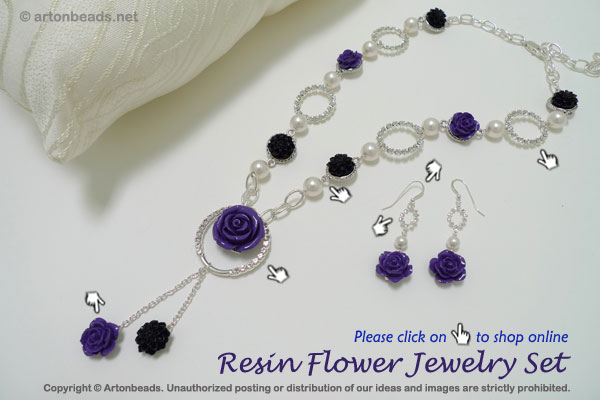 Resin Flower Jewelry Set