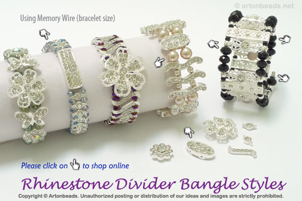 Rhinestone Divider Bangle with Styles