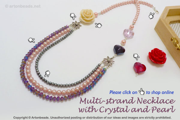 Multi-strand Necklace with Crystal and Pearl