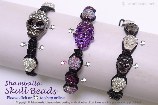 Shamballa Skull Beads