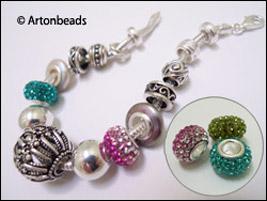 Diamond-Crystal Pendora Ball Beads