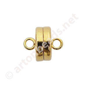 Magnetic Clasp - 18k Gold Plated - 9.3x8mm - 2pcs