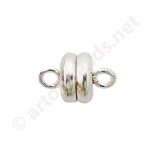 Magnetic Clasp - 925 Silver Plated - 9x6mm - 3pcs