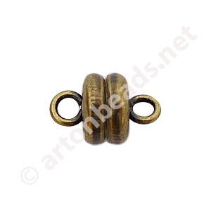 Magnetic Clasp - Antique Brass Plated - 9x6mm - 3pcs