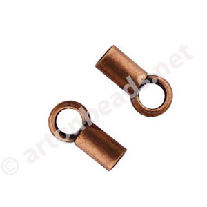 End Tube with Loop - Antique Copper Plated - 1.3mm - 16pcs
