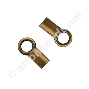 End Tube with Loop - Antique Brass Plated - 1.3mm - 16pcs
