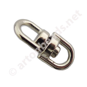 Swivel Connector - White Gold Plated - 16x7mm - 10pcs
