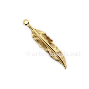 Casting Charm - Feather - 27.4x6mm - 15pcs
