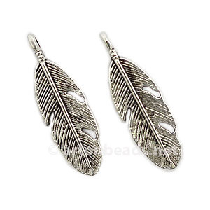 Casting Charm - Feather - 29.2x9.2mm - 12pcs