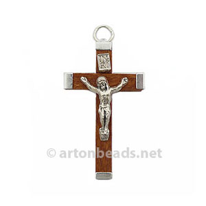 Metal/Wood Cross - White Gold Plated