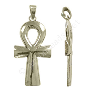 Metal Cross - Antique Silver Plated - 41x90mm - 1pc