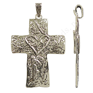 *Metal Cross - Antique Silver Plated - 62x97mm - 1pc