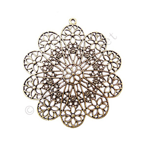 Filigree Metal Pendant - Antique Brass Plated - 65x61.5mm - 1pc