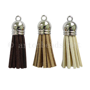 Velvet Tassel - White Gold Plated - 38x10mm - 12pcs