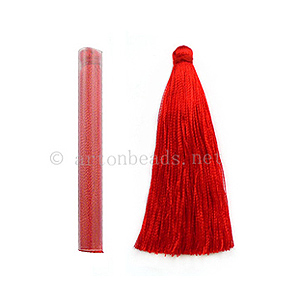 Satin Tassel - Red - 65mm - 4pcs