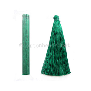 Satin Tassel - Peacock Green - 65mm - 4pcs