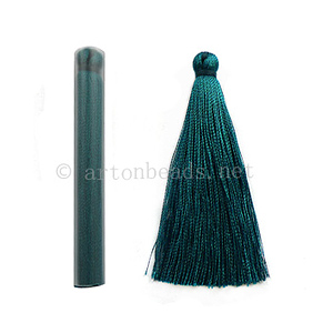 Satin Tassel - Indicolite - 65mm - 4pcs - Click Image to Close