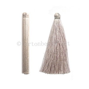 Satin Tassel - Light Gray - 65mm - 4pcs