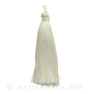 Satin Tassel - White - 110mm - 1pc