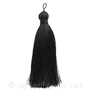 Satin Tassel - Black - 110mm - 1pc