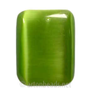 Cat's Eye Pendant - Olivine - Rectangle - 40x30mm - 1pc