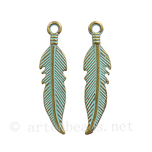 Casting Charm - Feather - 6.3x25mm - 20pcs
