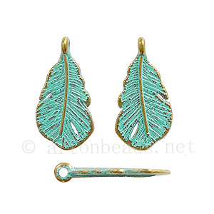Casting Charm - Feather - 9.5x18.4mm - 15pcs