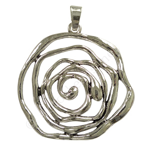 *Casting Charm - Flower - Antique Silver Plated - 73x85mm - 1pc