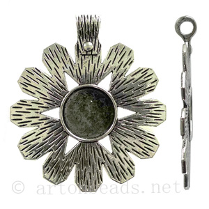 Casting Charm - Flower - Antique Silver Plated - 62x70mm - 1pc