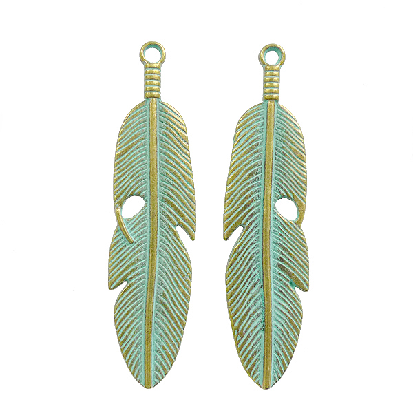 Casting Charm - Feather - 14.5x61.3mm - 4pcs