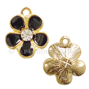 Rhinestone Charm - Flower - 14.3x16.6mm - 4pcs
