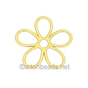 Filigree Stamping Charms-Flowers-18K Gold Plated-12mm-10pcs