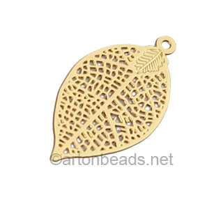 Filigree Stamping Charms-Leaf-18K Gold Plated-28x15mm-6 pcs