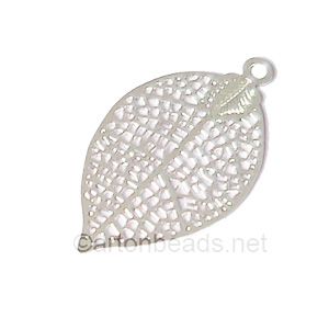 Filigree Stamping Charms-Leaf-925 Silver Plated-28x15mm-6 pcs