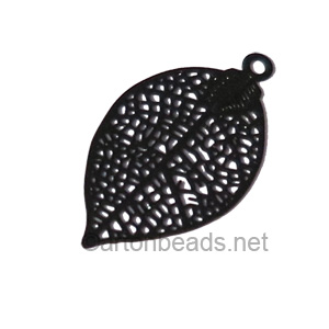 Filigree Stamping Charms-Leaf-Pure Black-28x15mm-6 pcs