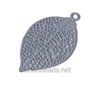Filigree Stamping Charms-Leaf-Grey-28x15mm-6 pcs
