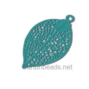 Filigree Stamping Charms-Leaf-Turquoise-28x15mm-6 pcs