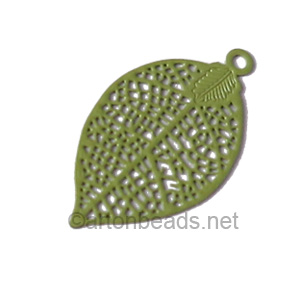 Filigree Stamping Charms-Leaf-Olivine-28x15mm-6 pcs