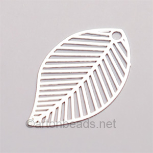 Filigree Stamping Charms-Leaf-925 Silver Plated-31x18mm-6pcs