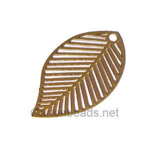 Filigree Stamping Charms-Leaf-18K Gold Plated-21x13mm-8 pcs