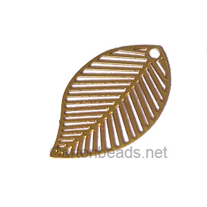 Filigree Stamping Charms-Leaf-18K Gold Plated-17x11mm-10 pcs