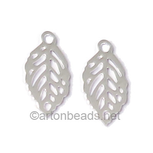 Filigree Stamping Charms-Leaf-925 Silver Plated-11x6mm-20 pcs