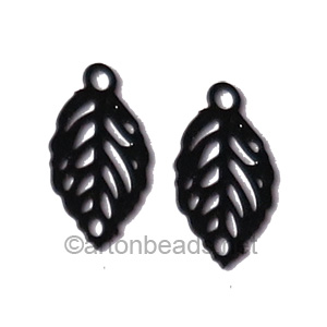 Filigree Stamping Charms-Leaf-Pure Black-11x6mm-20 pcs